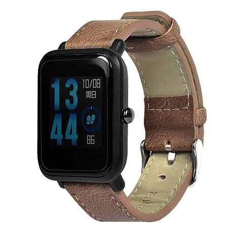 ☀️Modaworld Pulsera de Repuesto Retro de Cuero para Xiaomi Huami Amazfit Bip Youth Watch Muñequera Band Correas de Reloj smartwatch (marrón, para ...