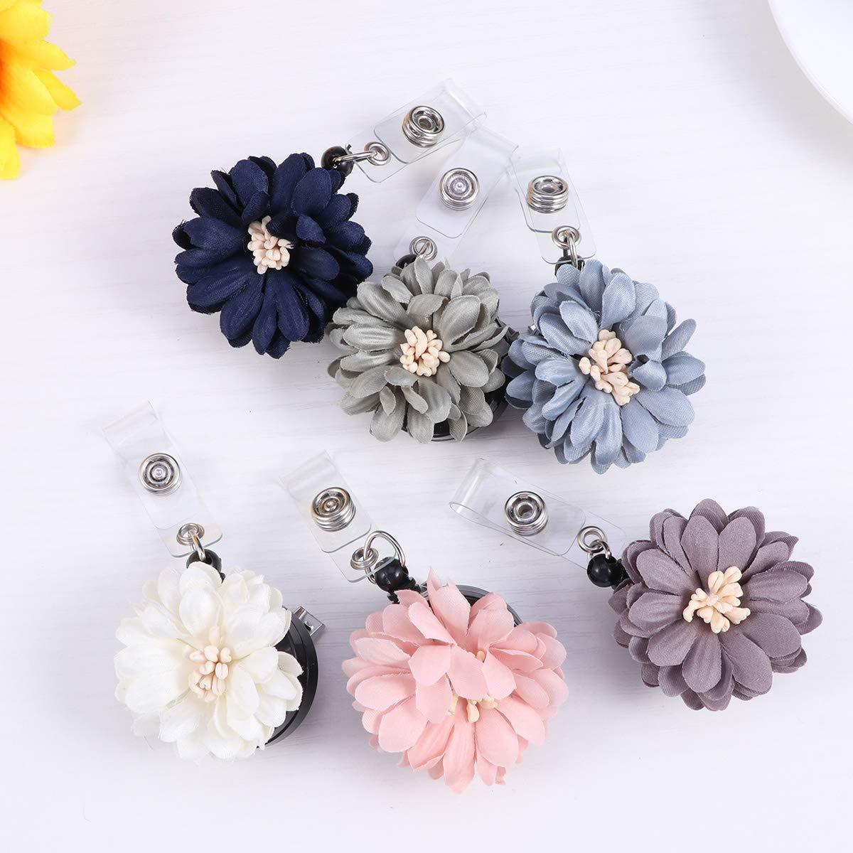confezione da 6 pezzi STOBOK Flower Badge Reel con clip a forma di coccodrillo clip con nome ID Badge