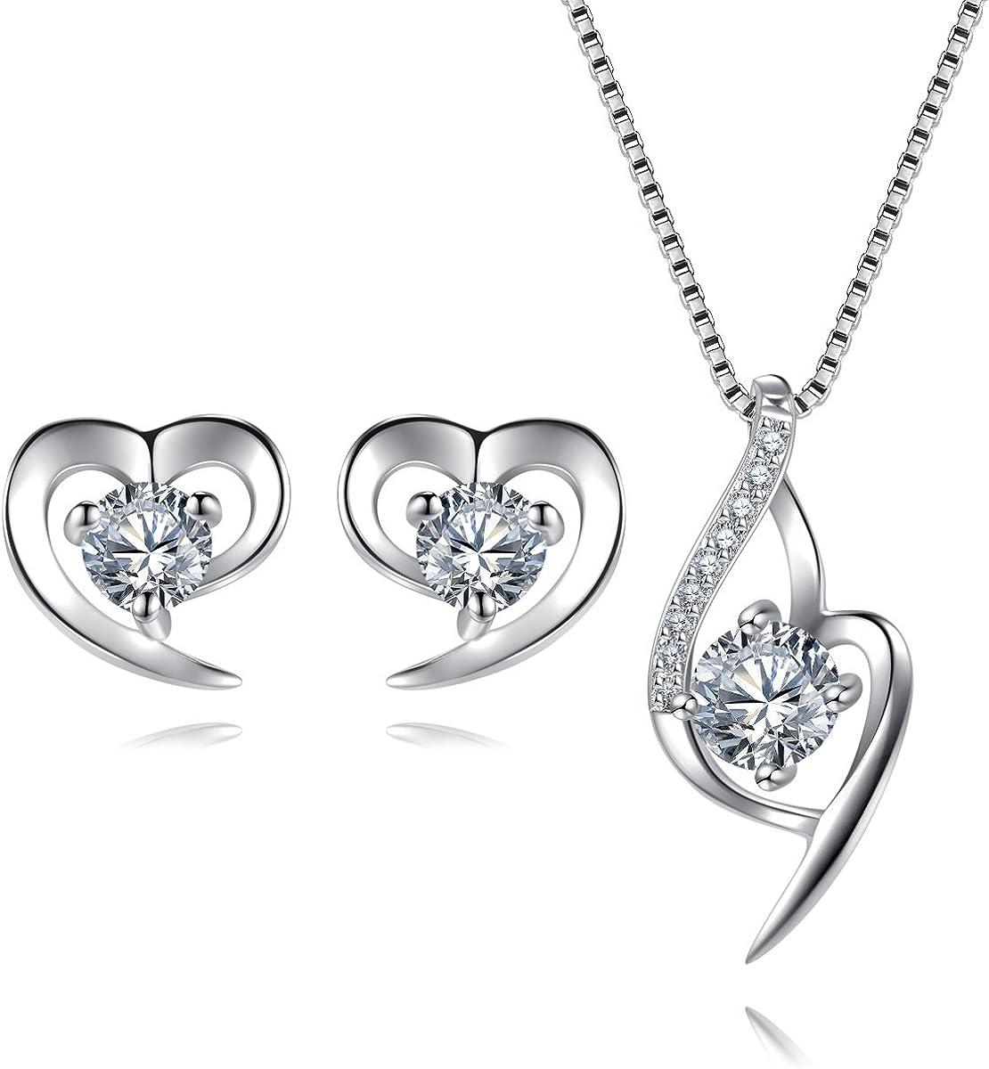 EVERU Conjunto de Joyas Corazón de Plata 925 para Mujeres, Juego de Collar y Aretes Brillante Circonita Regalos Originales con Hermosa Caja Regalo