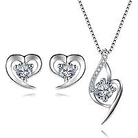 Bijoux en Argent 925 Ensemble Collier Pendentif Coeur Boucles d'oreilles Zirconium cubique Cadeau avec Paquet exquis