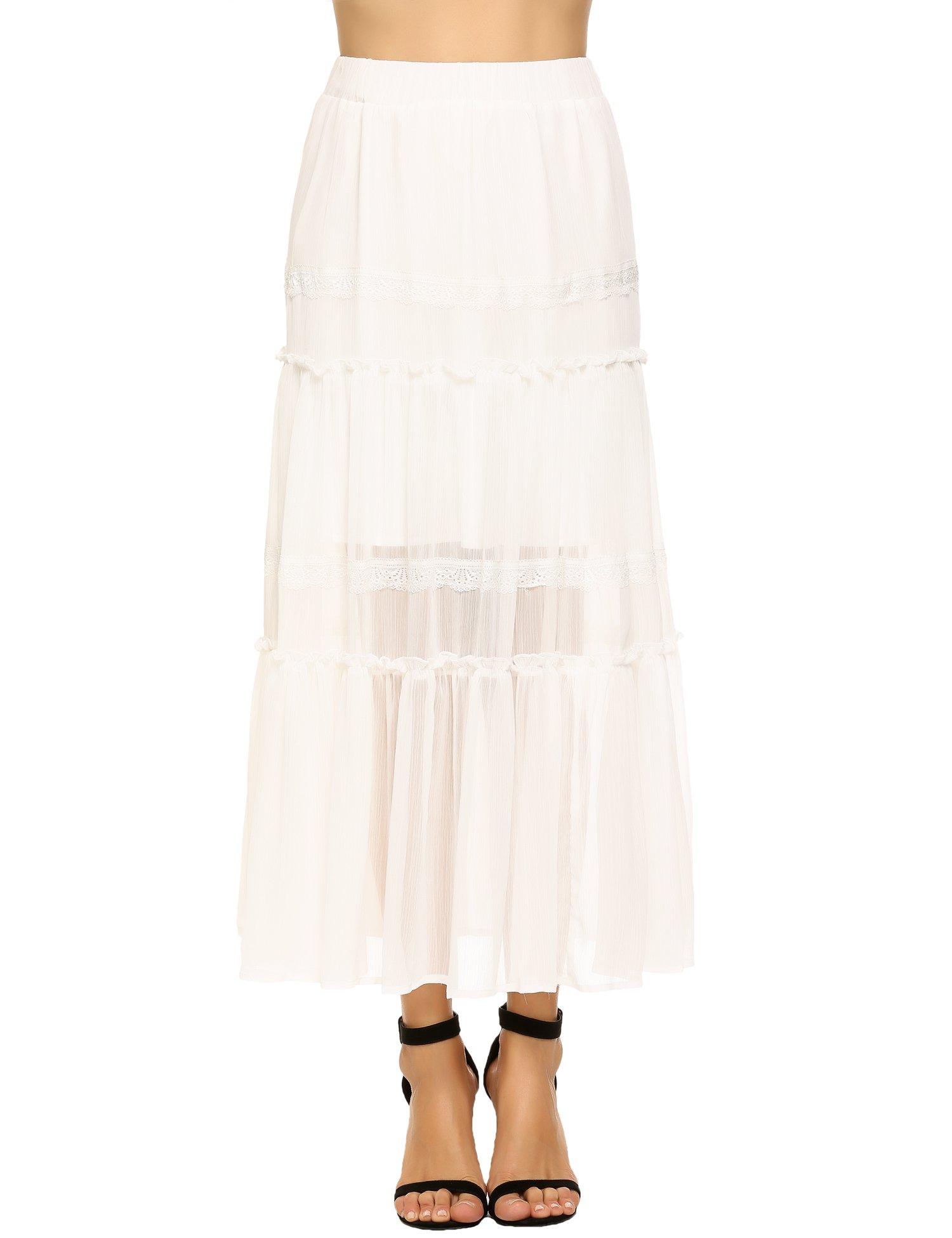 CHIGANT Women Summer Chiffon High Waist Pleated Big Hem Full/Ankle Length Beach Maxi Skirt