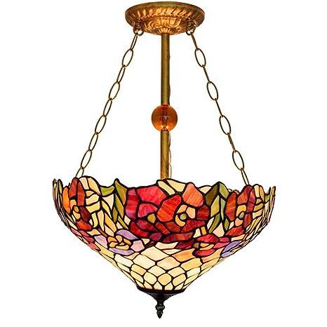ACTW Lámpara de Techo de Estilo Tiffany, lámpara de Techo de ...