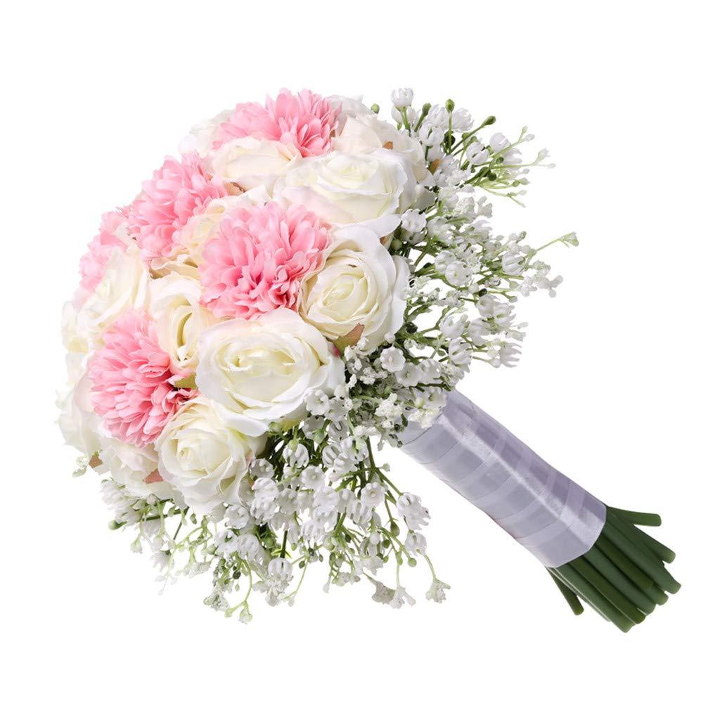 SANGNI 造花 ウェディングブーケ クリスタルローズパール ブライズメイド ウェディングブーケ 花嫁 人工シルクフラワー ホームデコレーションフラワー 28x22cm ピンク B07QQNC3NK レッド