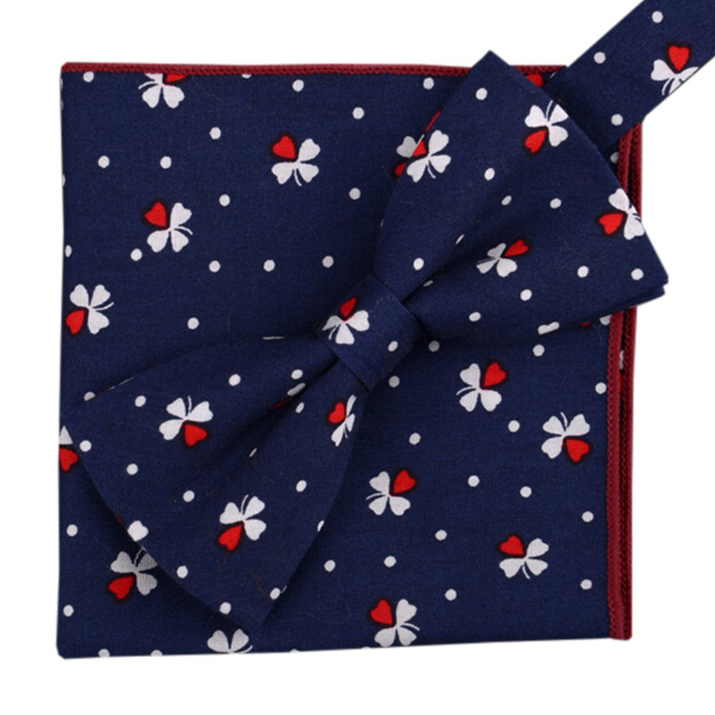 Korean Formal//Informal Bow Tie Pocket Square Casual Cotton Handkerchief #09