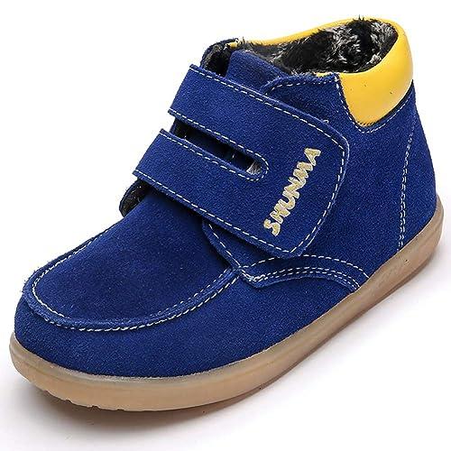 505f4e5f3a8e8 Yooeen Chaussures d hiver Enfant Souples Suède Bottes de Neige Chaud  Fourrées Bottines Garçon Fille