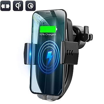 Olycism Cargador Inalámbrico Coche Qi Cargador Inalambrico Movil con Soporte de Teléfono para iPhone X XR XS MAX 8 Plus Samsung Galaxy Note 8 S9 + S8 ...