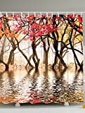 Woodland Scenic Forest Shower Curtain Decor by Ambesonne, Woodsy Fall Foliage Reflection on Pond North America Colorful Trees and Leaves Near a Lake Romantic Landscape Bathroom, Brown Red Cream Yellow
