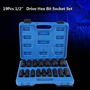 Repair Tool Kit 10MM-32MM Metric and Standard VEPEN 16Pcs 1//2 Inch Drive Air Hex Bit Socket Set