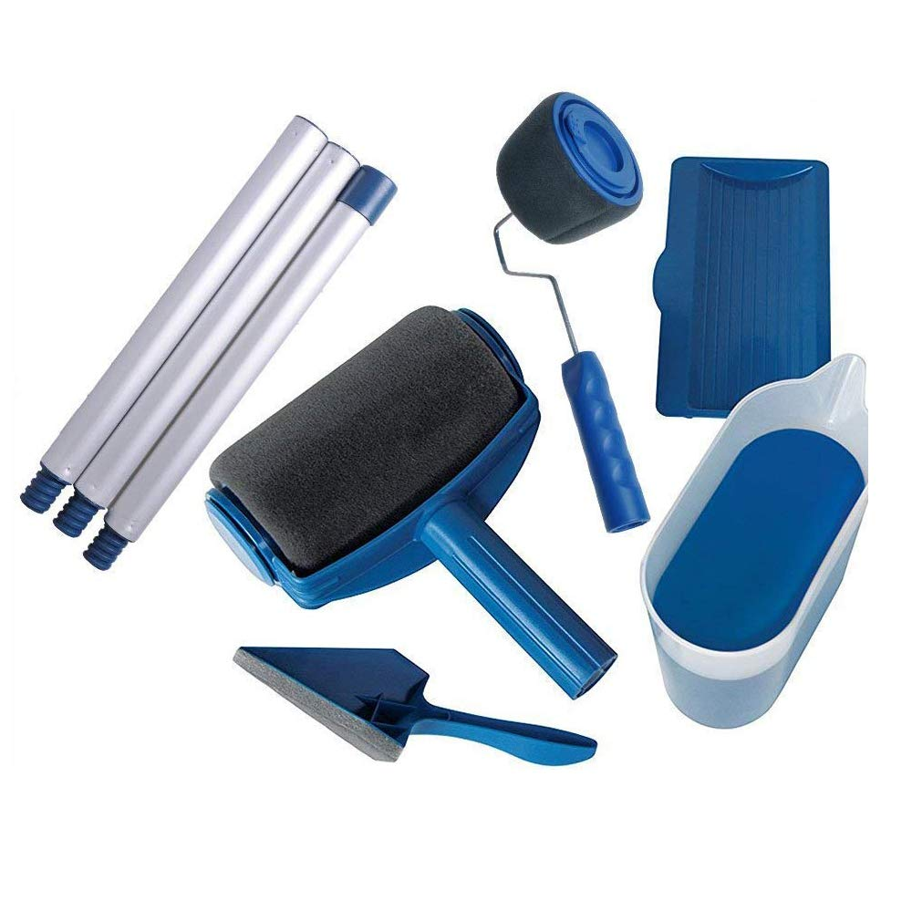 8Pcs Roller Paint Brush Handle Tool Home Garden Wall Ceiling Decor Quick Painting Set (Blue)
