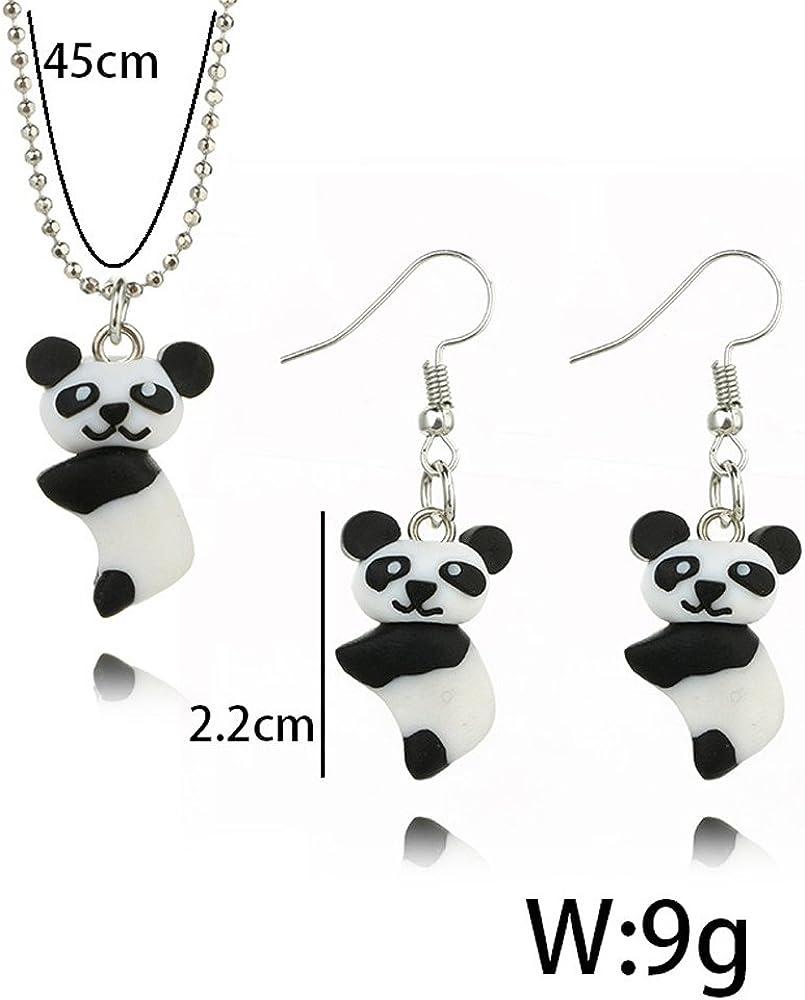Caimeytie Bijoux de Fille Parures Collier et Boucle doreilles Panda 3D Animal Personnalis/é Cr/éatif