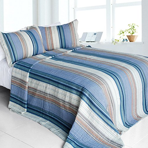 Blancho Bedding [Happy Art] 3-Pieces Stripe Printed-Quilted Cotton Quilt Set (Full/Queen Size)