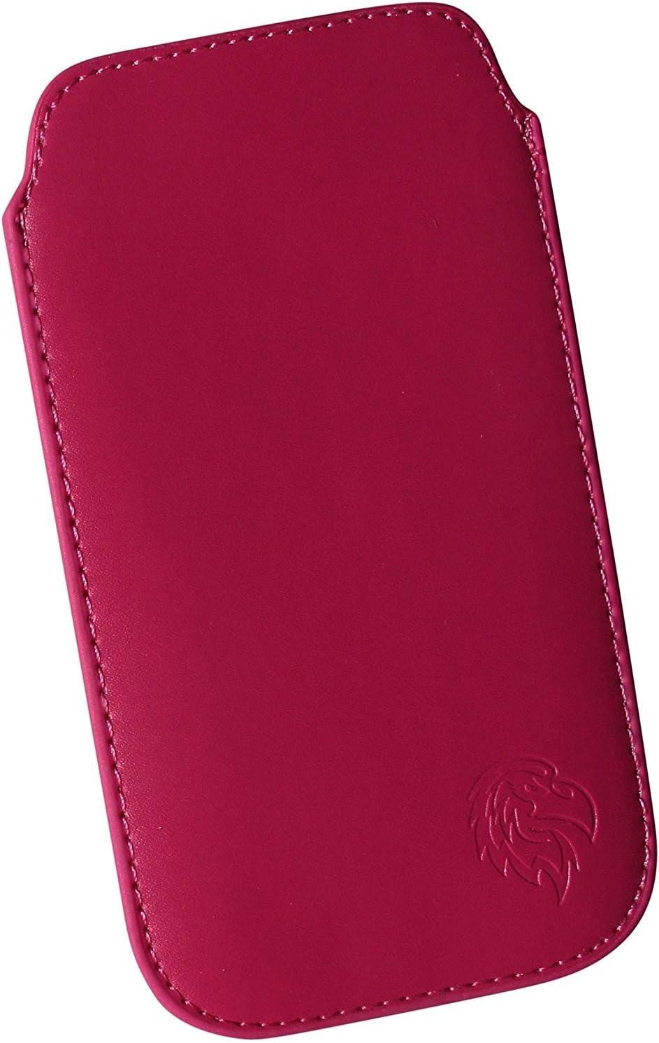 pochette elanc/ée avec tirette Etui avec languette pour retirer le t/élephone portable Housse de protection pour Samsung Galaxy S5 et S5 Neo motif aigle Z marron