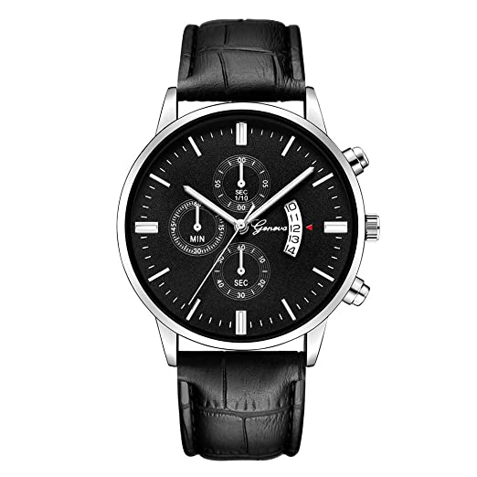 Watches for Men, DYTA Geneva Business Watches with Silver Stainless Steel Case Leather Strap Under