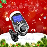 VicTsing Bluetooth FM Transmitter, Wireless In-Car Radio Transmitter Adapter /w USB Car Charger AUX Input 1.44 Inch Display TF Card Slot - A-Black