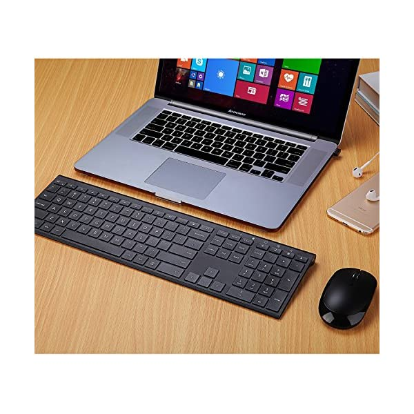 Wireless Keyboard Mouse, Jelly Comb 2.4GHz Ultra Slim Full Size Rechargeable Wireless Keyboard and Mouse Combo for…