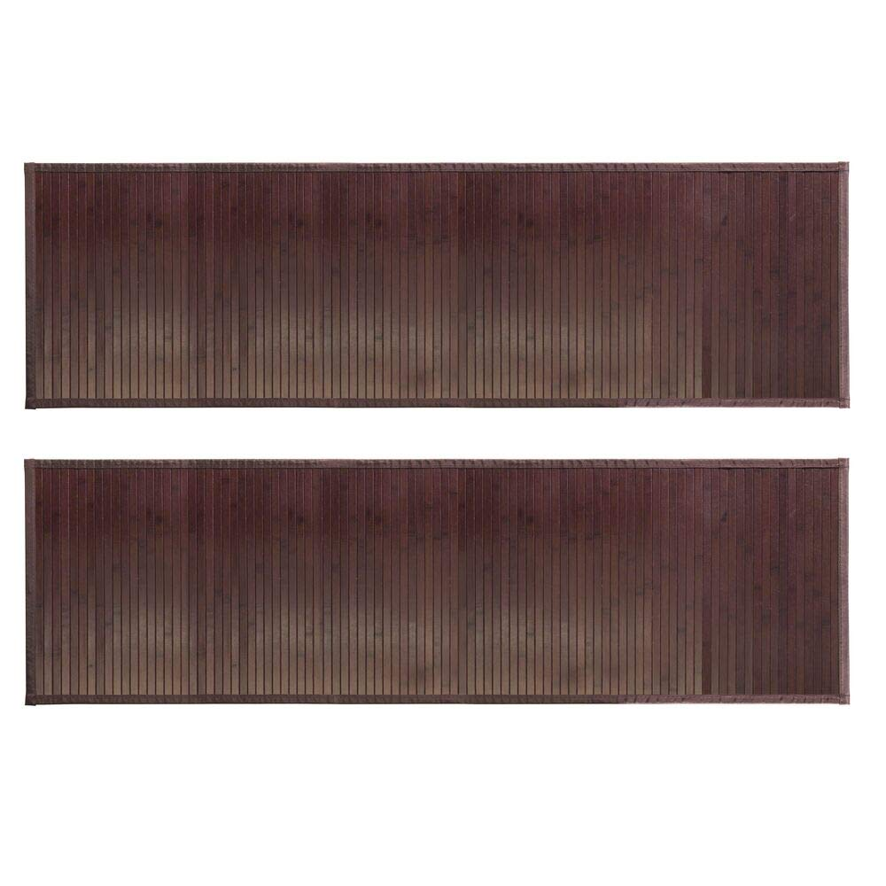 mDesign Long Bamboo Rectangular Spa Bath Mat/Runner Rug with Fabric Trim - Water Resistant - for Bathroom Vanity, Bathtub/Shower, Entryway - Environmentally Friendly, 60'' x 21'' - 2 Pack - Mocha Brown