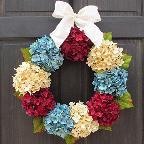 Patriotic 4th of July Summer Wreath for Front Door Decor -