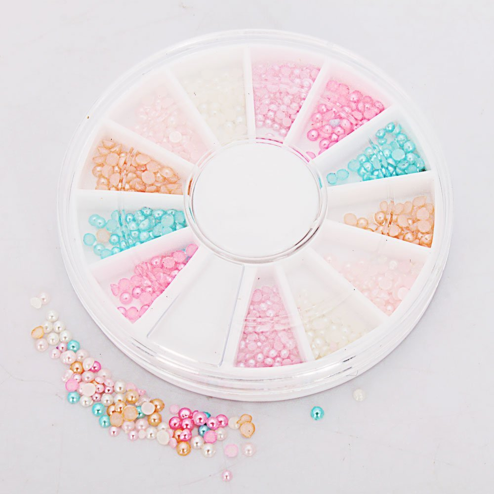 Manicure - SODIAL (R) 6 Colors Nail Art Pearl Crown Rhinestone Tips Manicure 3D Decoration Wheel SODIAL(R) 003946