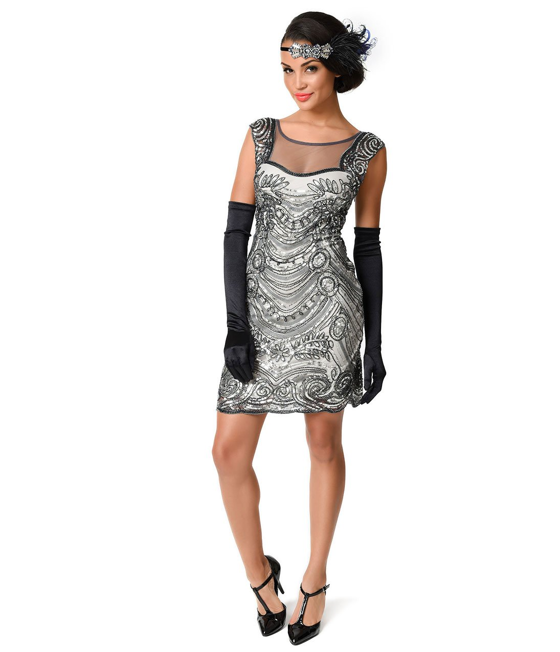 Unique Vintage 1920s Style Grey Beaded Deco Illusion Short Flapper Dress for Homecoming 2017