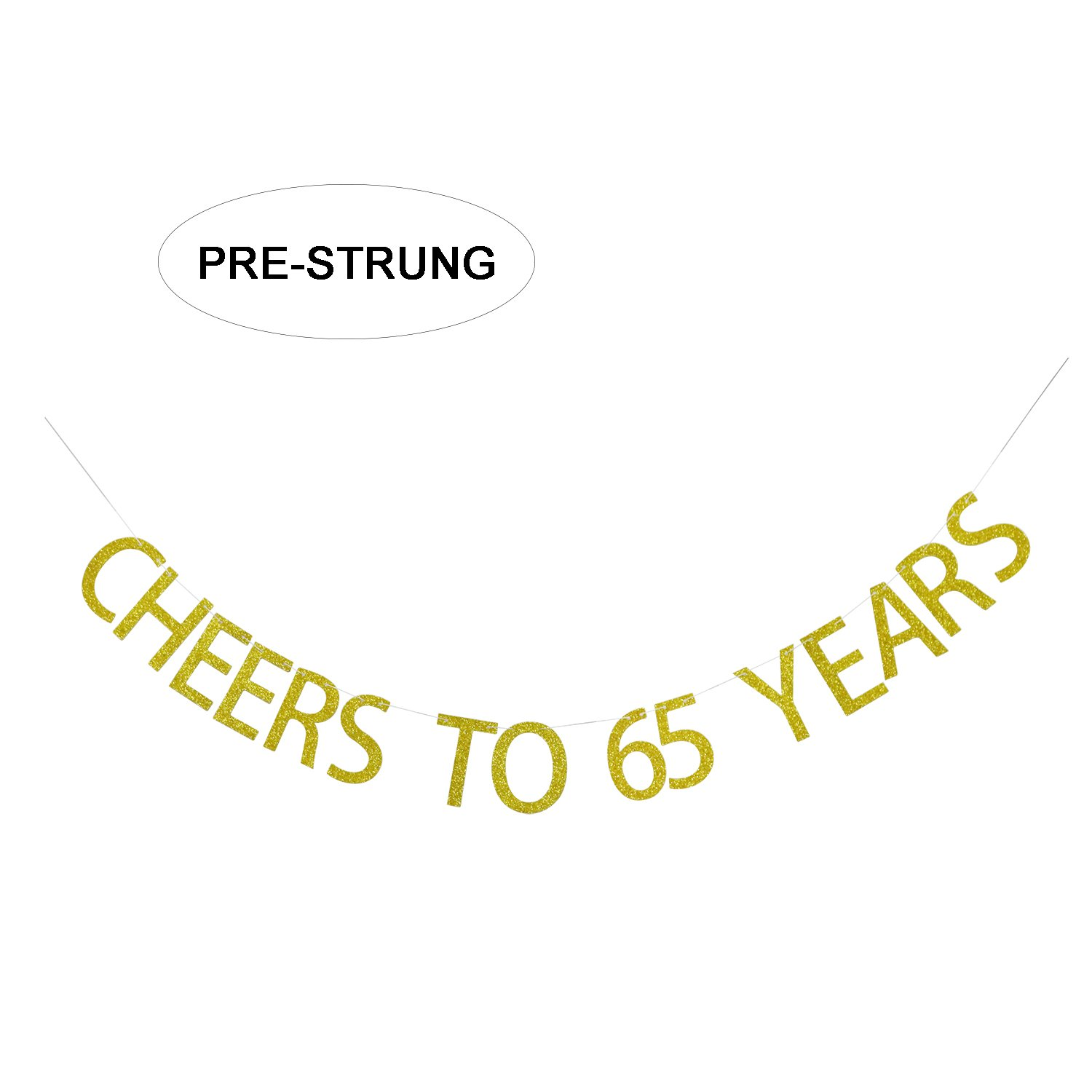 Amazon Gold Glitter Cheers To 65 Years Banner