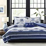 Intelligent Design Cassy Comforter Set Twin/Twin XL Size - Blue, White, Damask – 4 Piece Bed Sets – Ultra Soft Microfiber Teen Bedding for Girls Bedroom