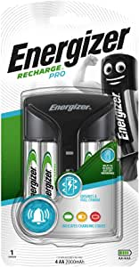 Energizer Pro Battery Charger, Recharge Pro Charges NiMH Rechargeable AA and AAA Batteries (4 AA Rechargeable Batteries Included)