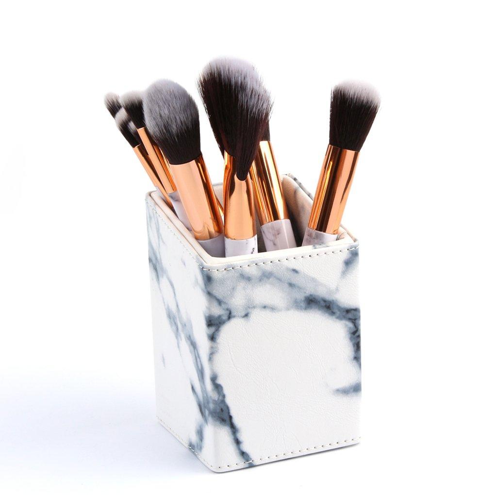 LHEI PU Material Marble Design Makeup Brush Holder for Concealer Brush Eye Shadow Brush Angled Liner Brush Eyeliner Brush Blending Brush Brow and Lash Comb Lip Brush Contour Brush Powder Brush etc