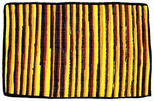 Thai tradition Rug Rag, Hand woven by skilled artisans on Thai traditional old fashioned wood looms, Eco-friendly rug is made from recycled 100 % fabric strips, Pineapple Yellow & multi-color (FL54) by Fulllight