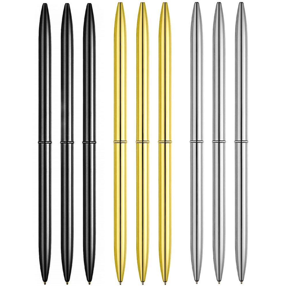 ZHU YU CHUN メタルボールペン9本 軽量 ブラックインクペン オフィスビジネス用 ブラック ゴールド シルバー B07H94H6LR