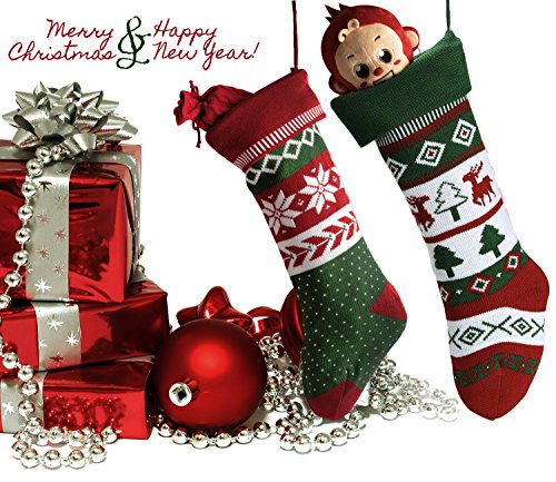 Knit Christmas Stockings for Family 22'' x 7'' Sets of 2 – Red/White/Green Snowflake knitted Hanging Bags - Holiday Gift - Decor,Decorations Christmas Tree,Mantel by Dragon Squama (Image #4)