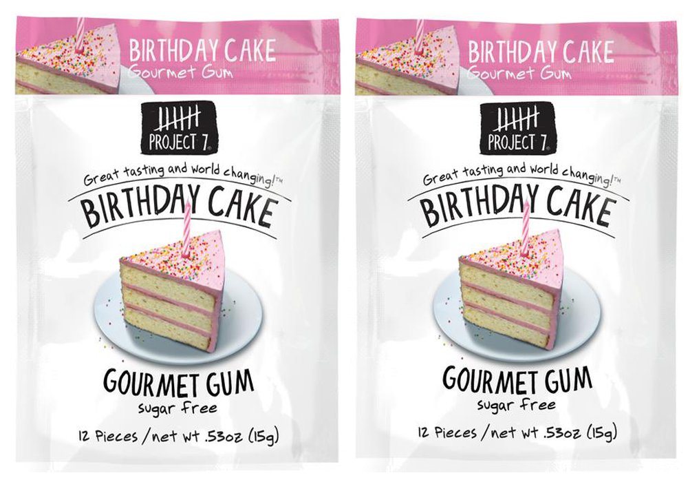 Amazon Project 7 Sugar Free Gum 053oz Birthday Cake 2 Pack Grocery Gourmet Food