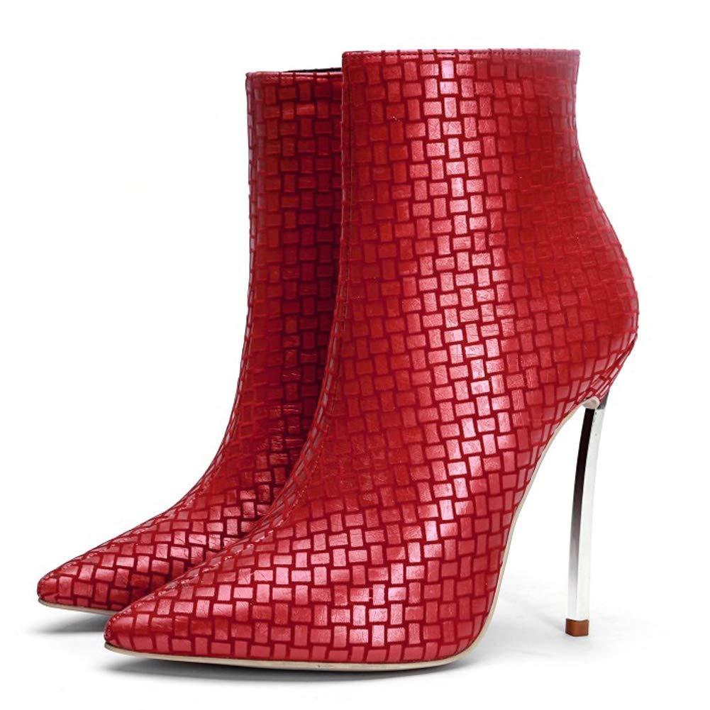 L@YC Frauen Stiefel PU Chunky Spitzen Reißverschluss (Größe 33-43) Mode High Heels Western Knie Neu