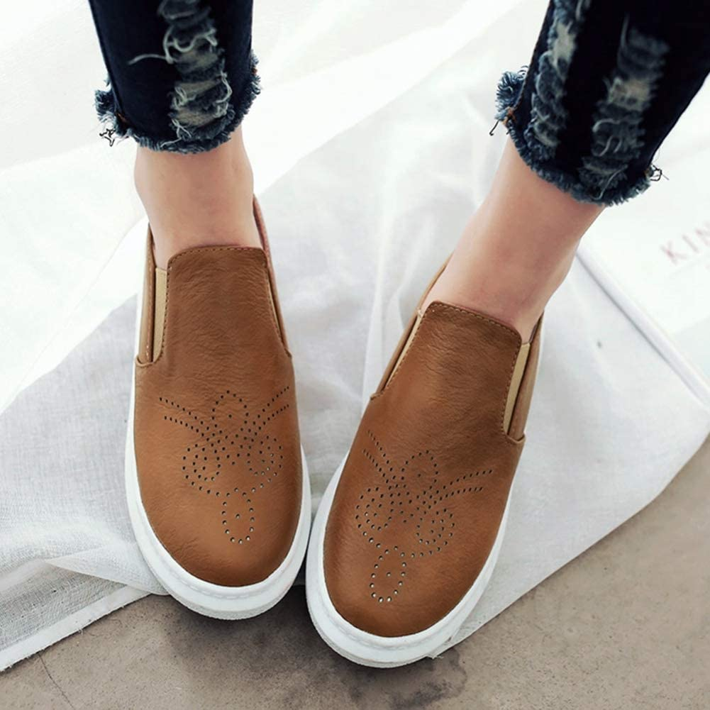 Scarpe Casual in Pelle da Donna Moda intagliata in Tinta Unita Slip on Appartamenti Piattaforma Donna Sneaker Scarpe Oxford Mocassini Femminili Arancia