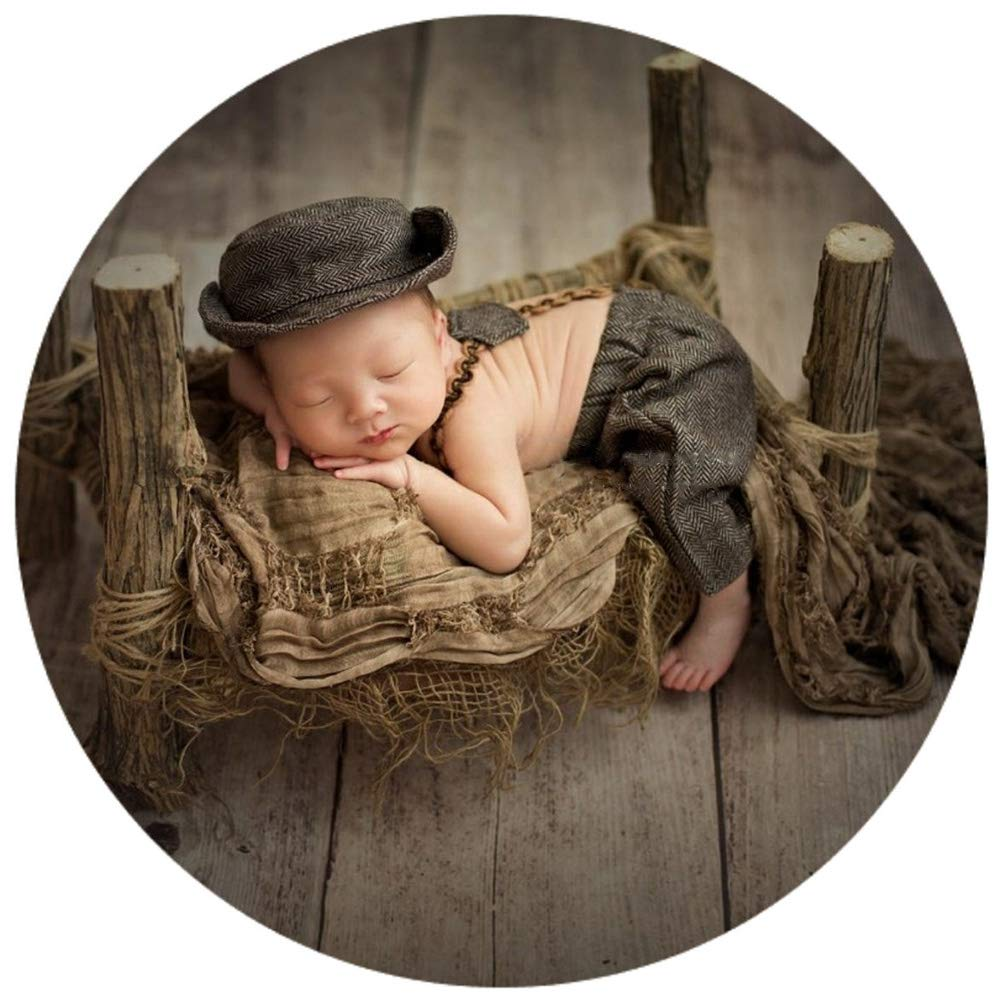 Infant Baby Photo Props Crochet Romper Newborn Photography Caps Set Cool Monthly Boys Knitted Berets Hat Outfits Clothes 3pc Brown by Newborn Costumes Set (Image #6)
