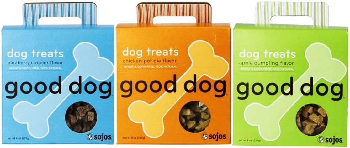 Good Dog 100 Natural Wheat Corn Free Treats For Dogs 3 Flavor Variety Bundle 1 Good Dog Chicken Pot Pie Flavor 100 Natural Dog Treats, 1 Good Dog Apple Dumpling Flavor 100 Natural Dog Treats, and 1 Good Dog Blueberry Cobbler Flavor 100 Natural Dog Treats, 8 Oz. Ea. 3 Boxes Total