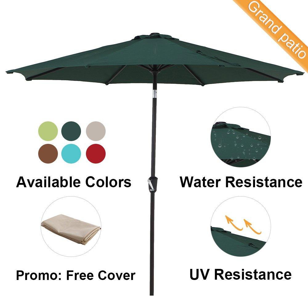 Grand Patio 10 FT Super Sturdy Aluminum Patio Umbrella, UV Protected Outdoor Umbrella, Green