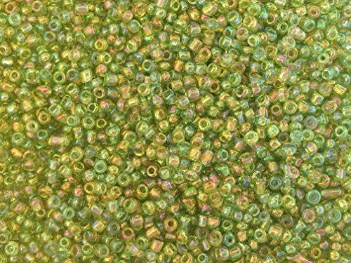 Czech Leaf Light - Czech Glass Seed Beads Light Green Iridescent Size:11/0 50 gr / 1.76 oz