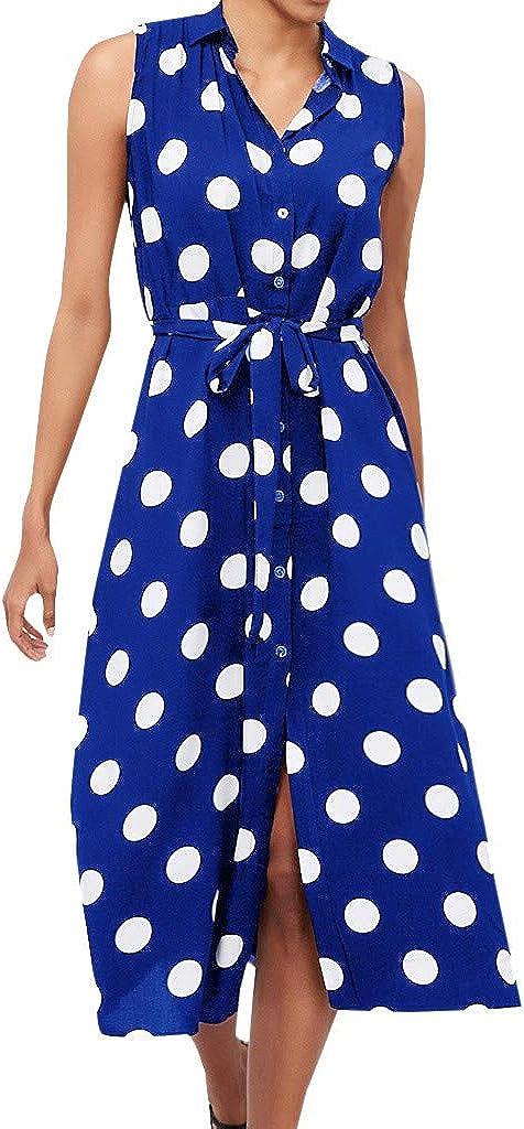Vestido De Las Se/ñOras Vestido De Encaje De Lunares Sin Mangas De Gasa Elegante para Mujer De Verano sobre La Falda De La Rodilla Sonnena
