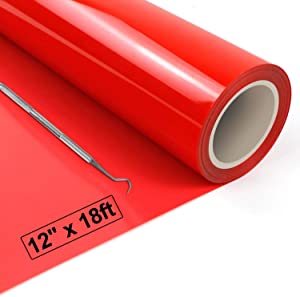 "Heat Transfer Vinyl Red HTV Vinyl Roll - 12"" x 18ft Red Iron on Vinyl for Cricut & Silhouette Cameo, Red Heat Transfer Vinyl Roll Easy to Cut & Weed for DIY Heat Vinyl Design"