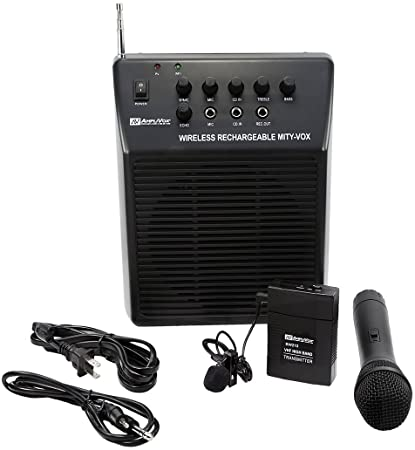 Amplivox SW212 Mity-Vox Wireless AC/DC Rechargeable Portable Public Address PA System With