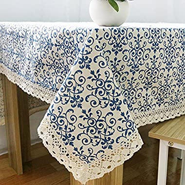 ColorBird Vintage Navy Damask Pattern Decorative Macrame Lace Tablecloth Heavy Weight Cotton Linen Fabric Decorative Table Top Cover (55 Inch x 78 Inch)