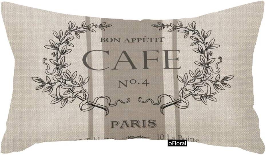 oFloral Throw Pillow Covers Modern Vintage French Cafe Decorative Pillow Case Paris Home Decor Rectangle 12 x 20 Inch Cushion Cotton Linen Pillowcase