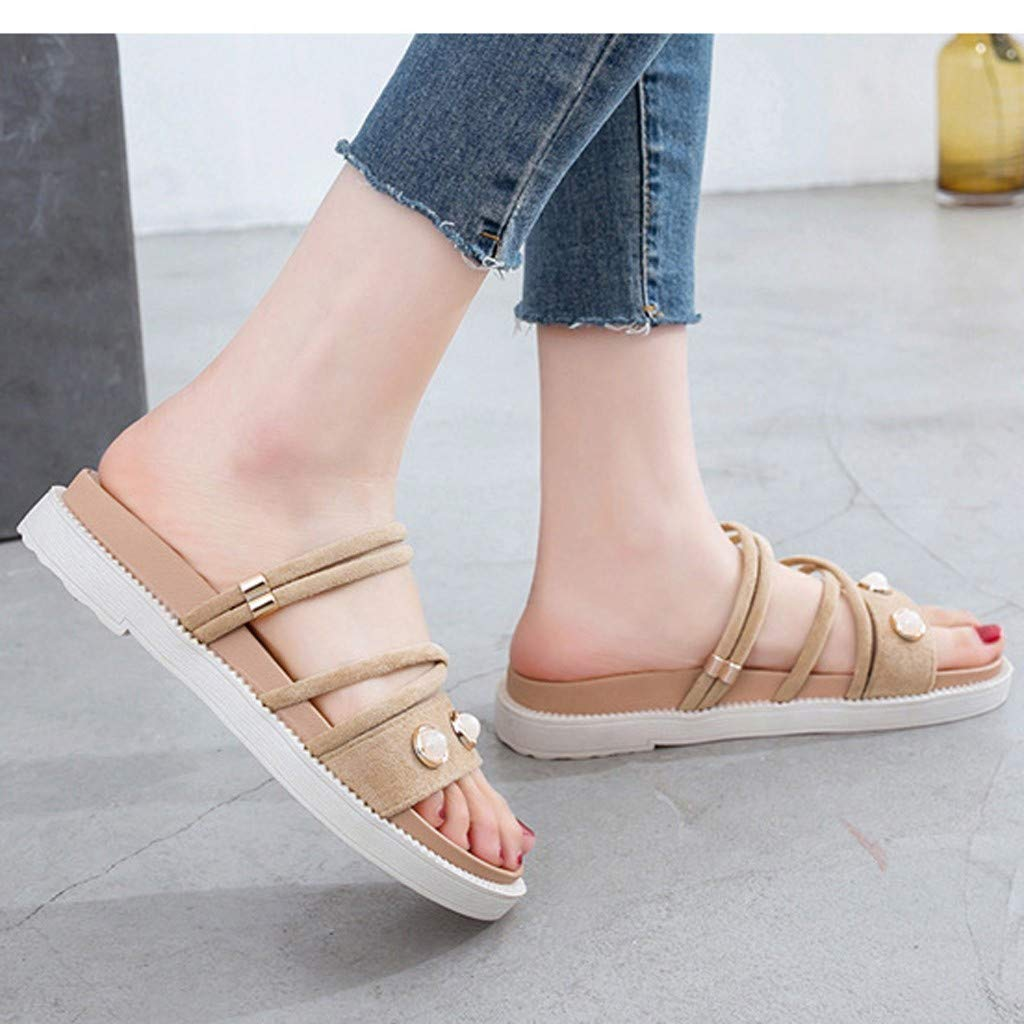 ZOMUSAR New! 2019 Women's Summer Casual Fashion Flat Bottom Roman Round Head Non-Slip Slippers Beige by ZOMUSAR (Image #3)