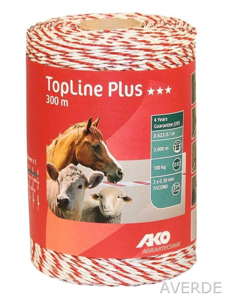 Wire for Fencing Fence Topline Plus, 300 M, White Red, 3 x 0.3 mm Tricond K449119