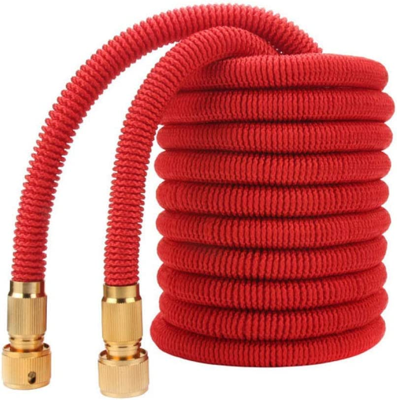 garden hose expandable, 25FT-100FT expandable garden hose, telescopic hose, high pressure car wash hose For courtyard gardens Red