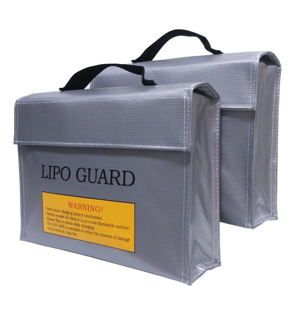 (2 Pack) Lipo Battery Safe Bag Fireproof Explosionproof Lipo Battery Guard Safe Bag(240x180x65mm) GoIris