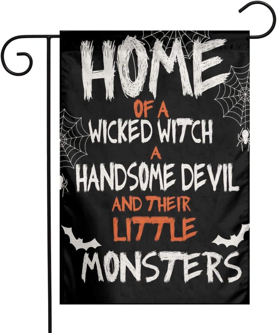 YANGHOME Halloween Spider Web Bat Home of A Witch A Handsome Devil and Their Little Monsters Burlap Garden Porch Lawn Flag Farmhouse Decorations Mailbox Decor Welcome 12x18 Inch Mini Double Sided
