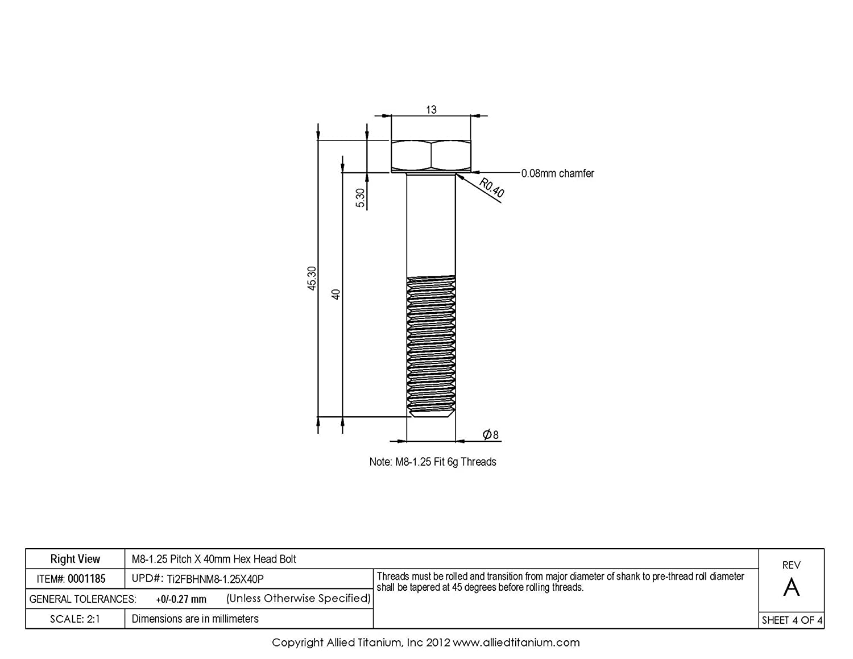 CP Allied Titanium 0001185, 608274001 Pack of 5 Inc M8-1.25 Pitch X 40mm Titanium Hex Head Bolt Grade 2
