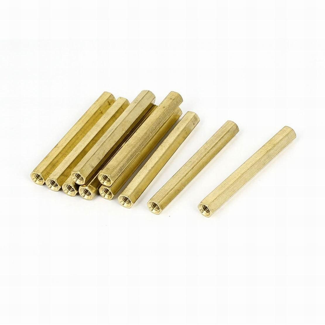 Houseuse M4 x 18mm Female Threaded Brass Hex Standoff Pillar Spacer Nut 25pcs