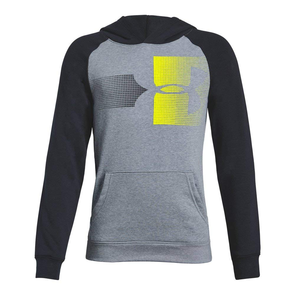 Under Armour Boys Rival Logo Hoodie, Steel Light Heather (035)/High-Vis Yellow, Youth Large by Under Armour